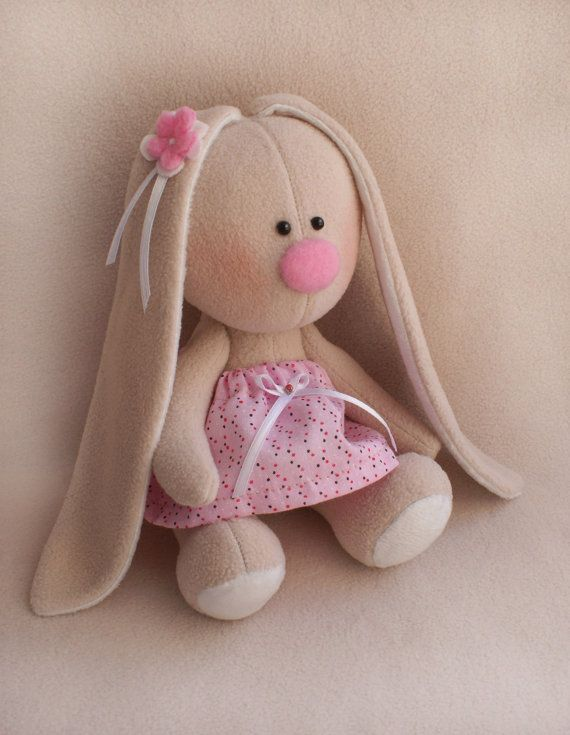 DIY Easy sewing Kit Rabbit doll Pattern&supplies Pink dress fleece ...