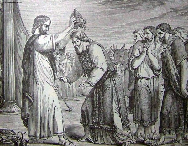 Consecration of Aaron and His Sons, illustration from the 1890 Holman Bible
