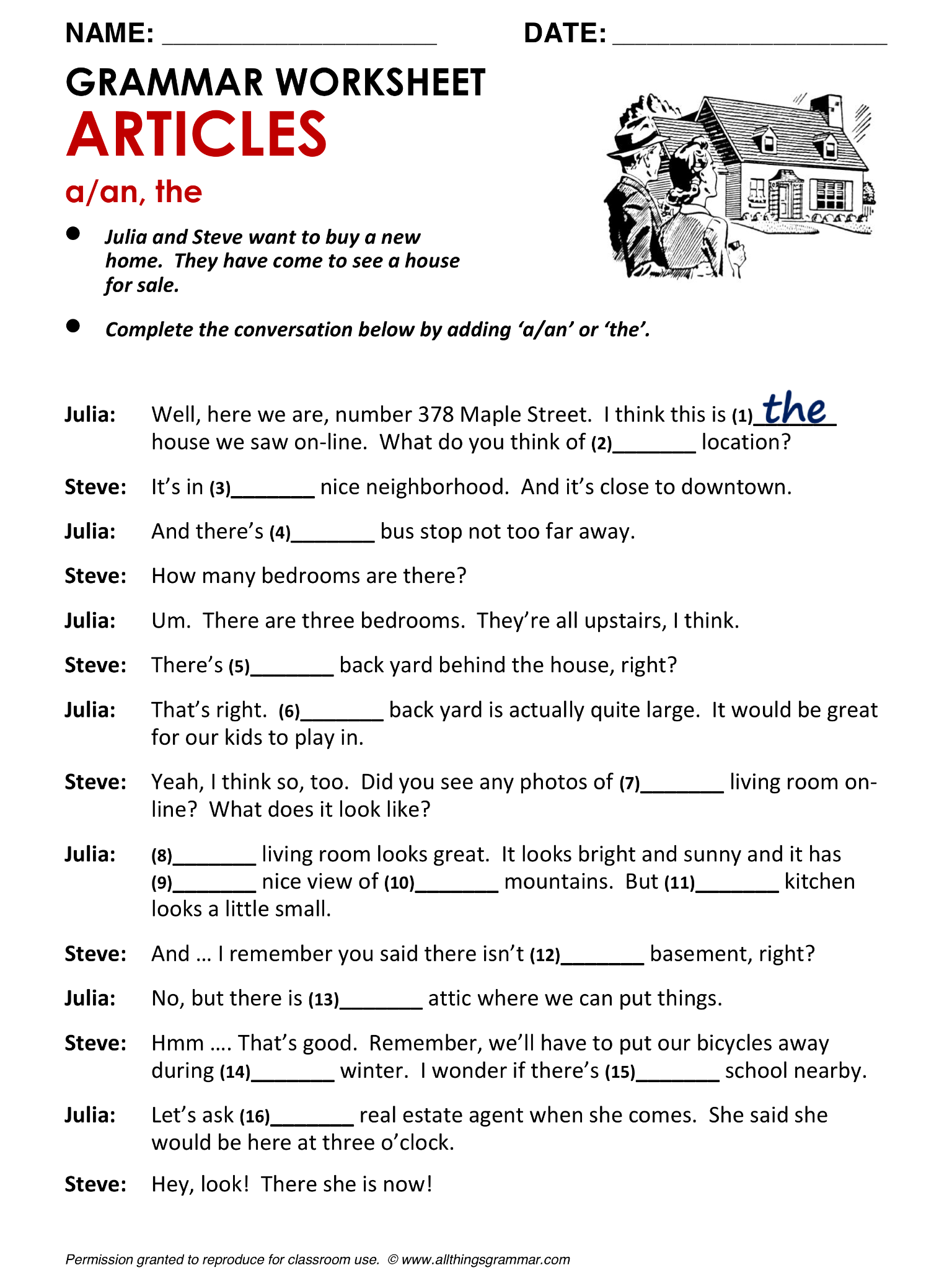Middle School Esl Worksheets
