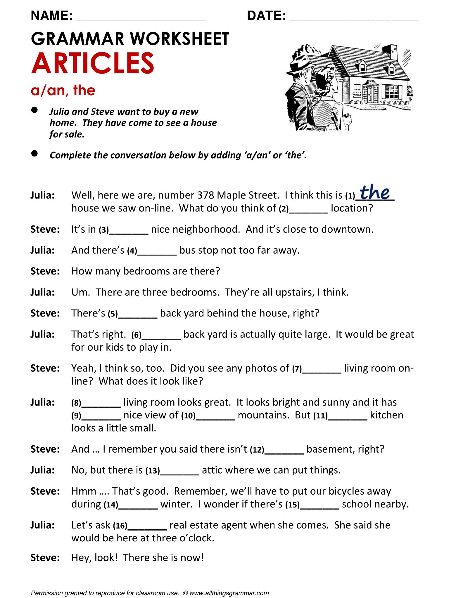English Grammar Articles www.allthingsgrammar.com/articles ...
