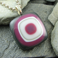 Dark Grey, Pink, White and Ivory Fused Glass Pendant