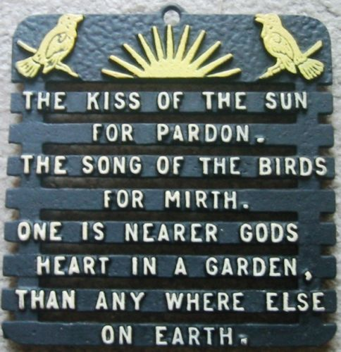 Vintage Metal Wall Trivet Kiss Of The Sun For Pardon The Song Of