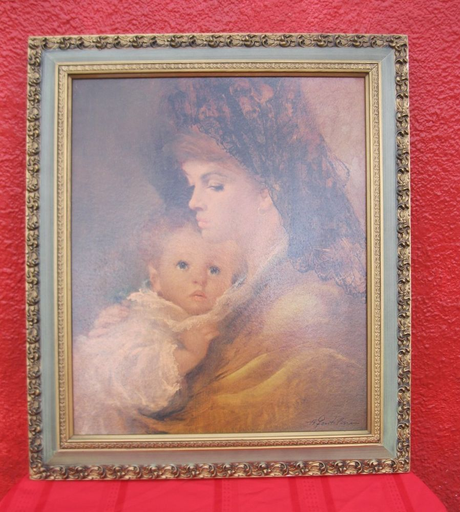 Painting By A. Fenti Pini Signed Large Art Print Mother Child Wood ...