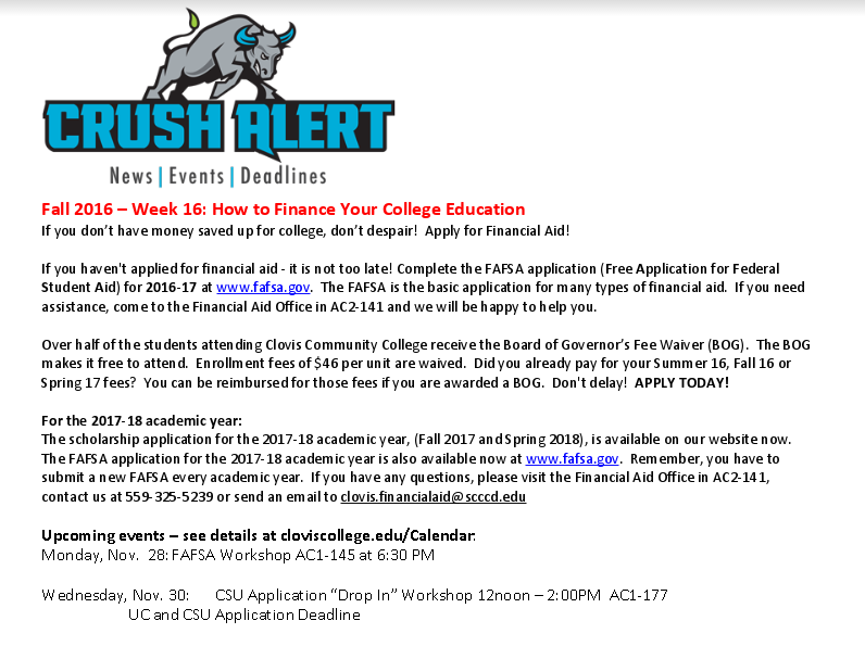 Read This Week S Crush Alert At Http Www Cloviscollege Edu Index Aspx Page 1361 Student Activities Education College Student