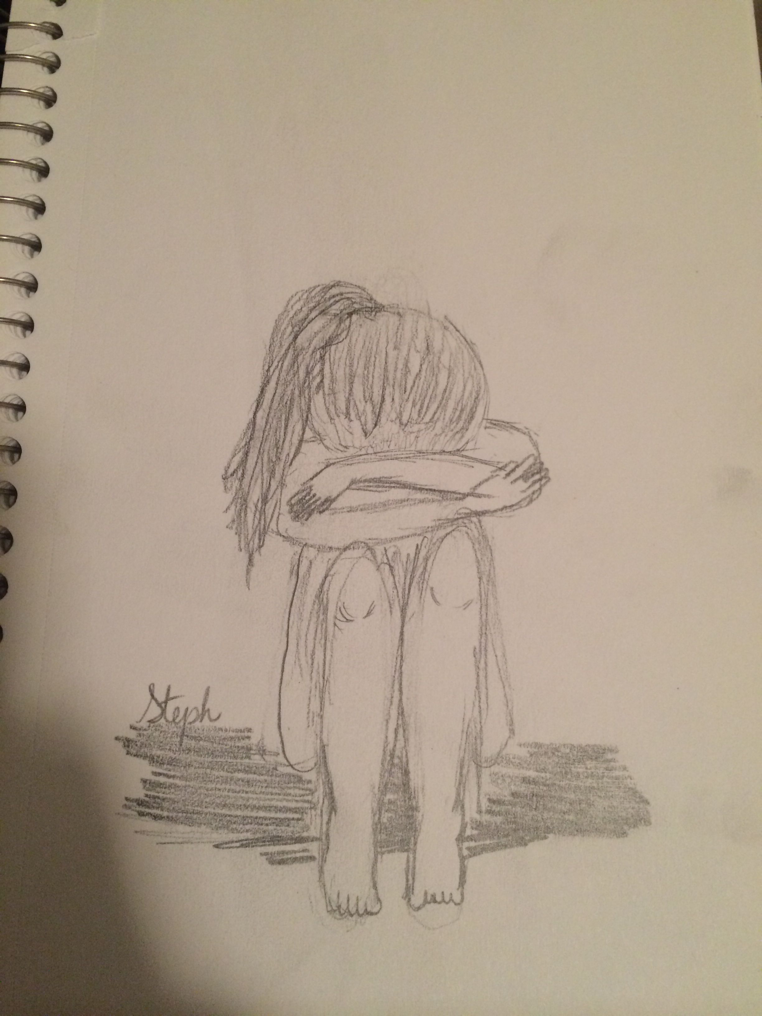 Sad girl crying drawing sketch