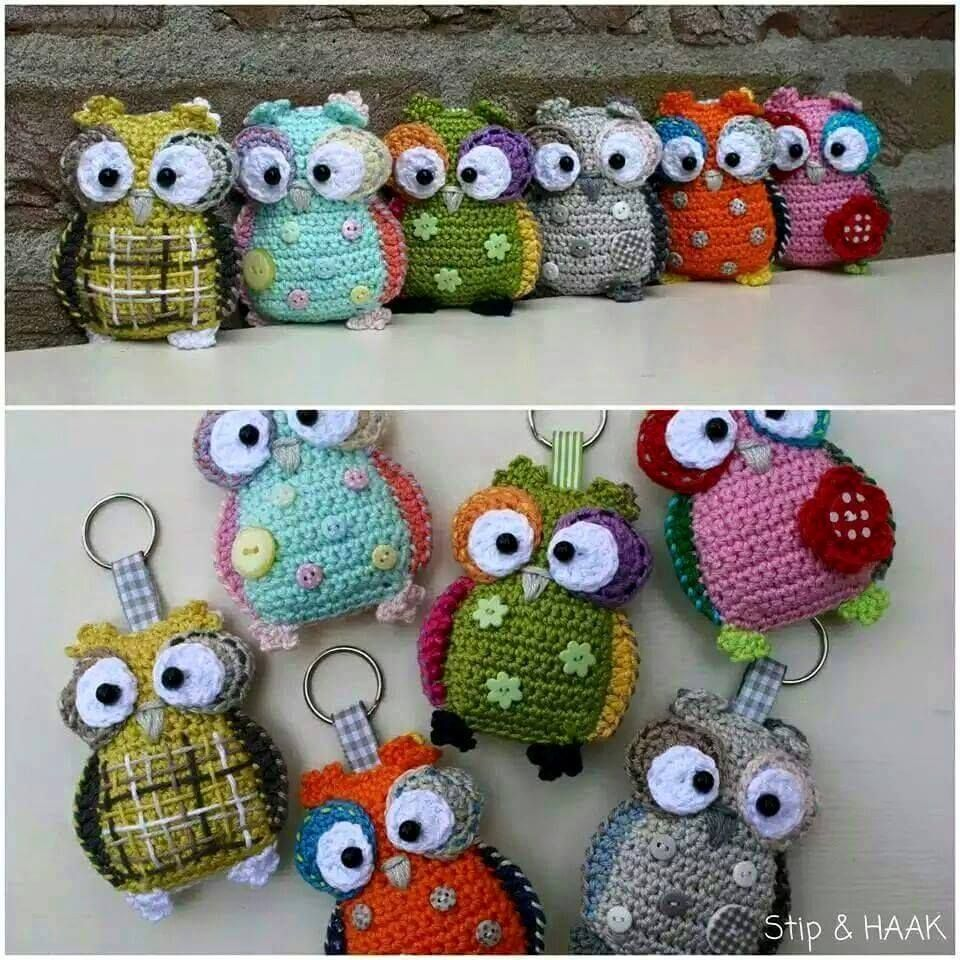 Free crochet pattern hkeln croch ksit just a picture but such a cute crochet owl key chain i am sure i could figure it out by looking at the picture bankloansurffo Gallery