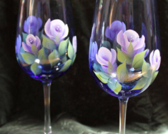 Violets on Cobalt Blue glass Set of 2 Hand Painted Wine Glasses
