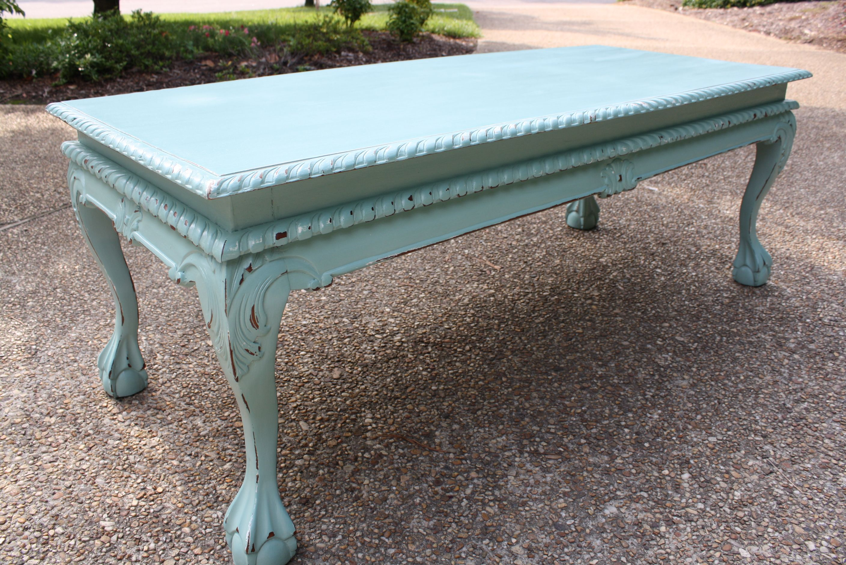Aqua Distressed Coffee Table   Not Too Shabby ~ My Own ...