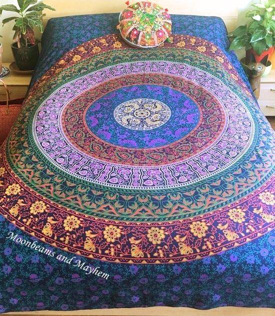 New Double Mandala Throw Wall Hanging Yoga Bed Gypsy Hippie Festival Meditation Ebay