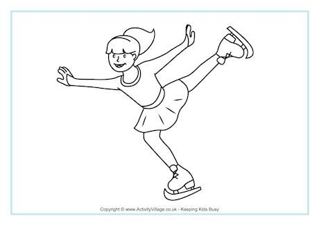 Figure Skating Coloring Page: Winter Olympic Crafts for