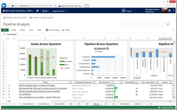 Dynamics CRM Excel templates | Sales / Marketing | Microsoft