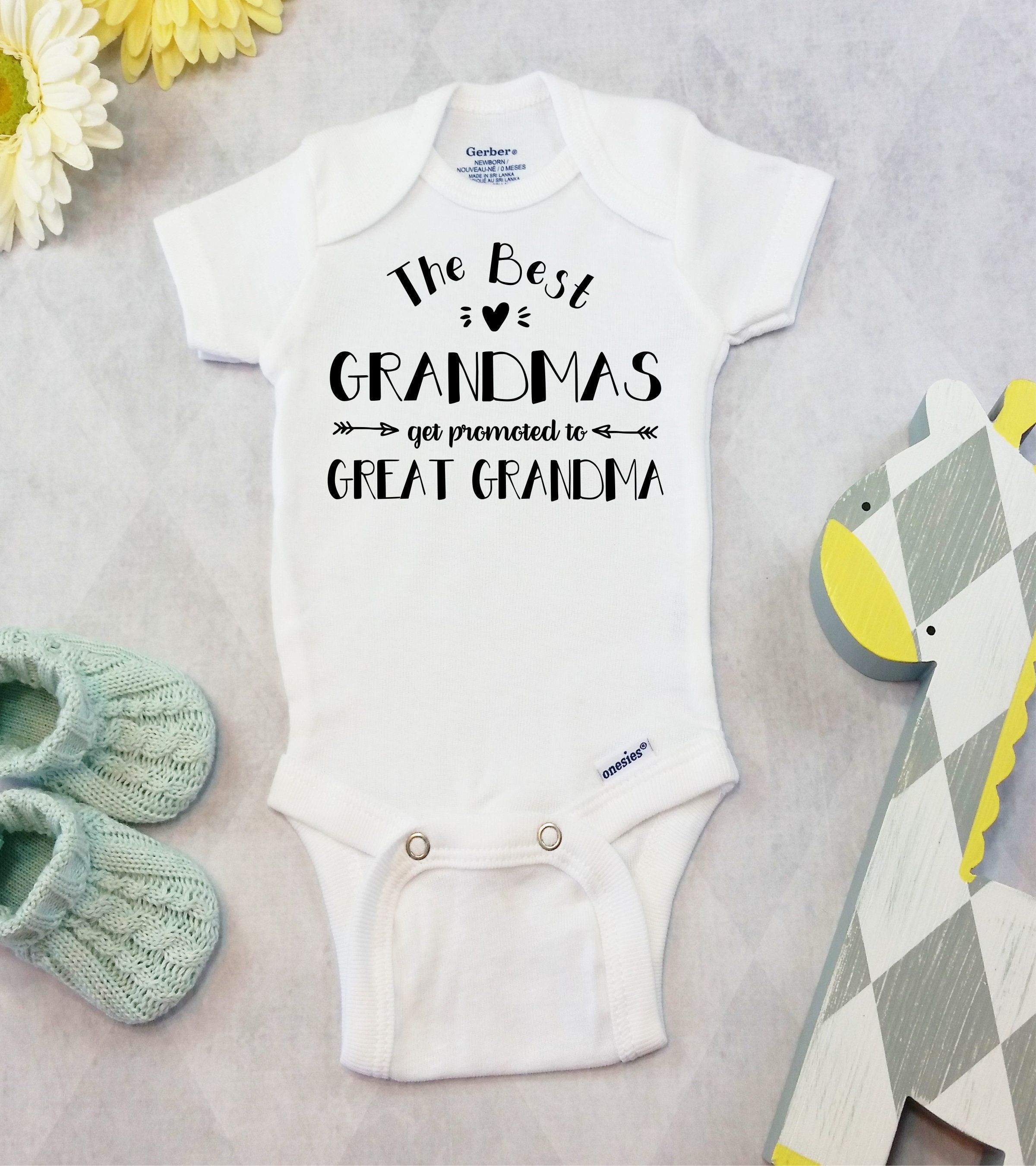 Custom Pregnancy announcement idea for great grandparent pregnancy reveal great grandma great grandpa ONESIE \u00ae brand bodysuit or shirt