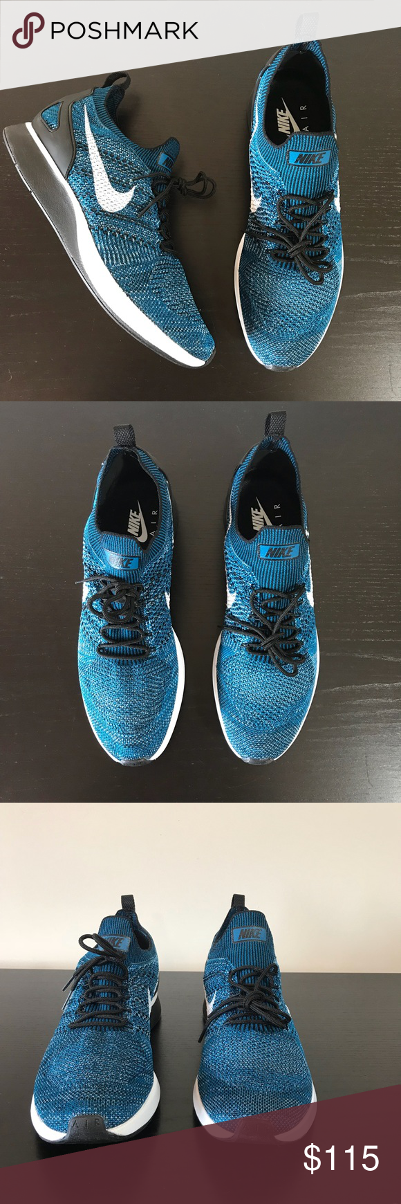14a1e40a7a09 Men s Nike • Air Zoom Mariah Flyknit Racer Size 11 Men s Nike • Air Zoom  Mariah Flyknit Racer Size 11 in Green Abyss   Black-Cirrus Blue   style     918264 ...