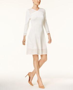 be0a576d Calvin Klein Illusion-Stripe Fit & Flare Sweater Dress - Tan/Beige ...