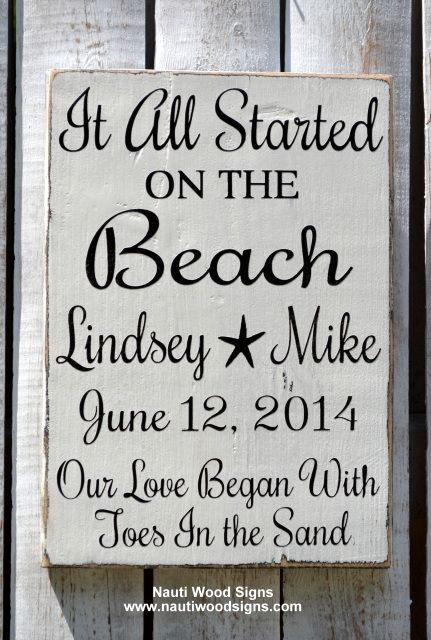 Beach Wedding Sign Personalized Wedding Decor Toes In The Sand, It All Started at on the Beach Love Quote Began Toes in Sand Nautical Anchor Anniversary Sign Beach $ Wedding Gift, Hand Painted Wood Sign, Personalized Names Date, Starfish Nauti Wood Signs www.nautiwoodsigns.com