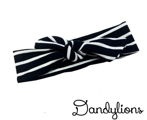 Top Knot Headwrap  Black stripe  Headwrap  by DandylionsBoutique
