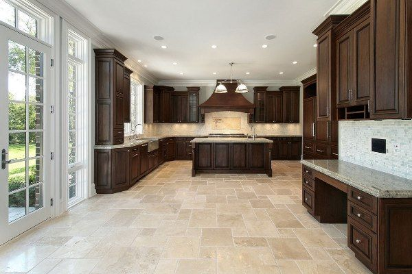Great Kitchen Interior Design with Dark Brown Cabinets and Linoleum ...