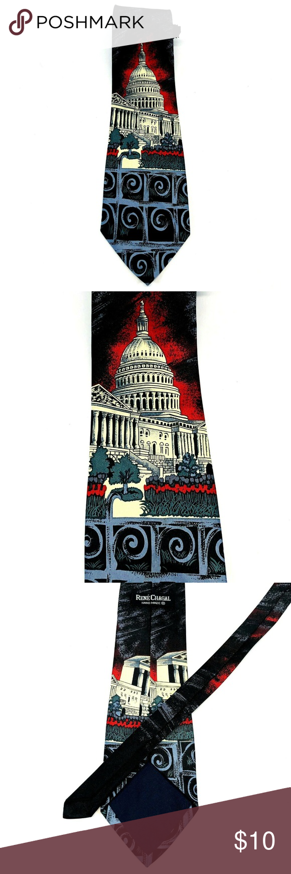 Rene Chagal America Capitol Hill Silk Necktie Tie New Without Tags/Unworn 100% Handmade Silk Smoke and pet free home Colors: Black/White/Blue/Red 080919-12-602NT3 Renea Chagal Accessories Ties
