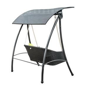 Outsunny Garden Rattan Swing Chair Outdoor Swinging Hammock 3 Seater Bench Bed Lounger Black