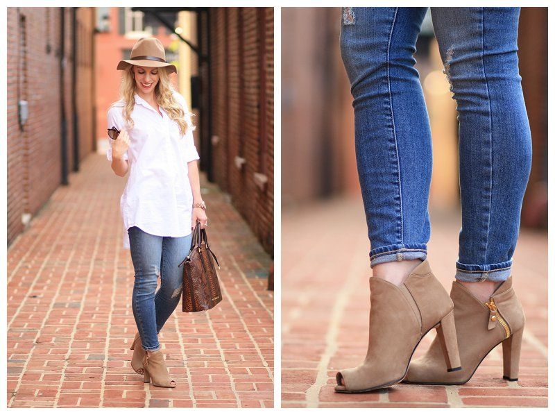 Tunic shirt - Laid Back Style: White Button Down Tunic, Distressed Ankle Jeans