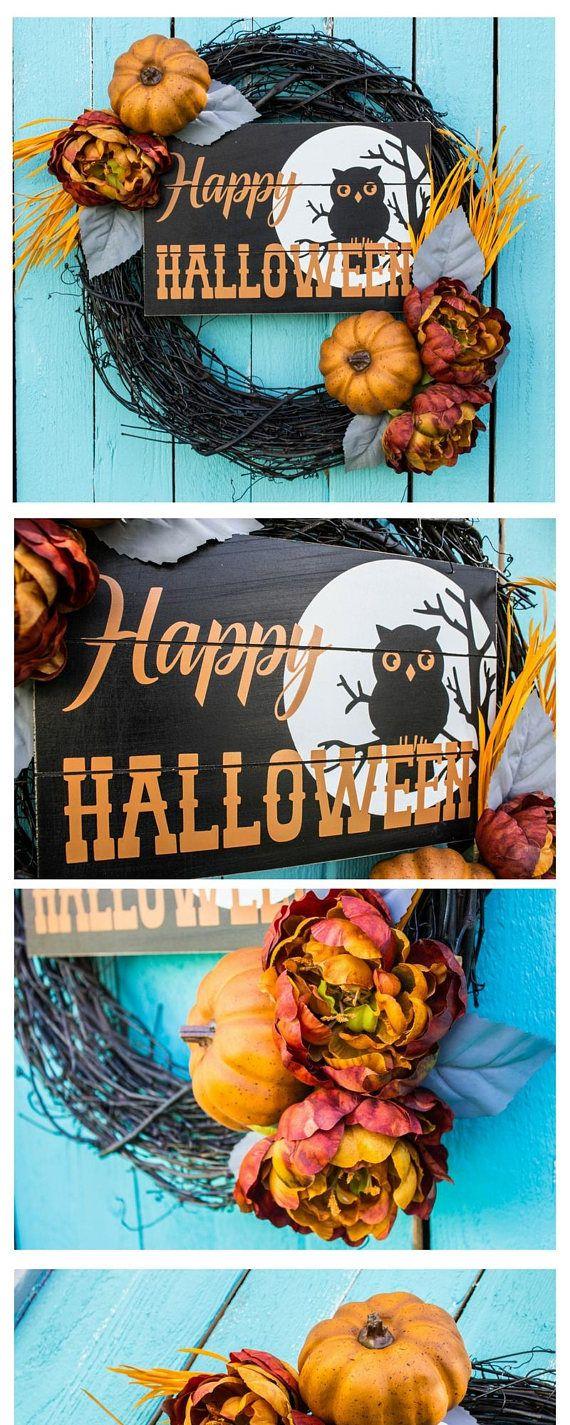 Peonies/ Wooden/ Front Door/ Front Door Wreath/ Owl/ Halloween - halloween front door decor