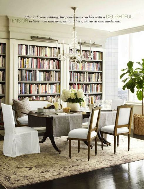 LIBRARY IN DINING ROOM Eye For Design: How To Create Stylish Formal Dining  Rooms.
