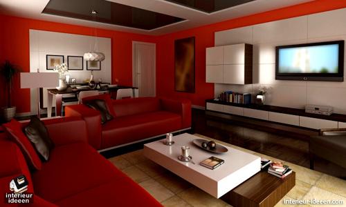 Rode woonkamer voorbeelden | Sala / Living Room Decorating Designs ...