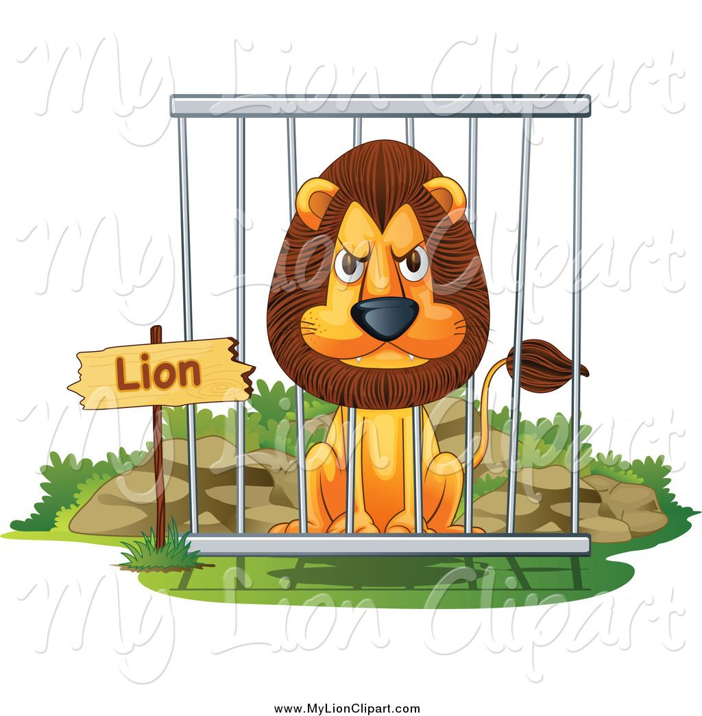 Clipart Of A Mad Male Lion In A Zoo Cage By Colematt 888 Male Lion Clip Art Lion Images