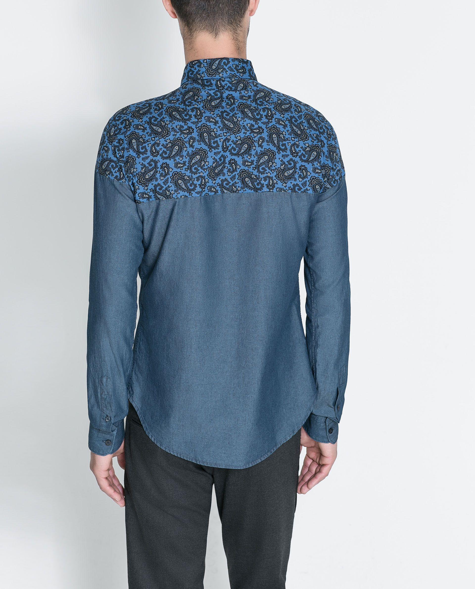 962d2aa708 CAMISA DENIM ESTAMPADO CACHEMIRES - Camisas - Hombre
