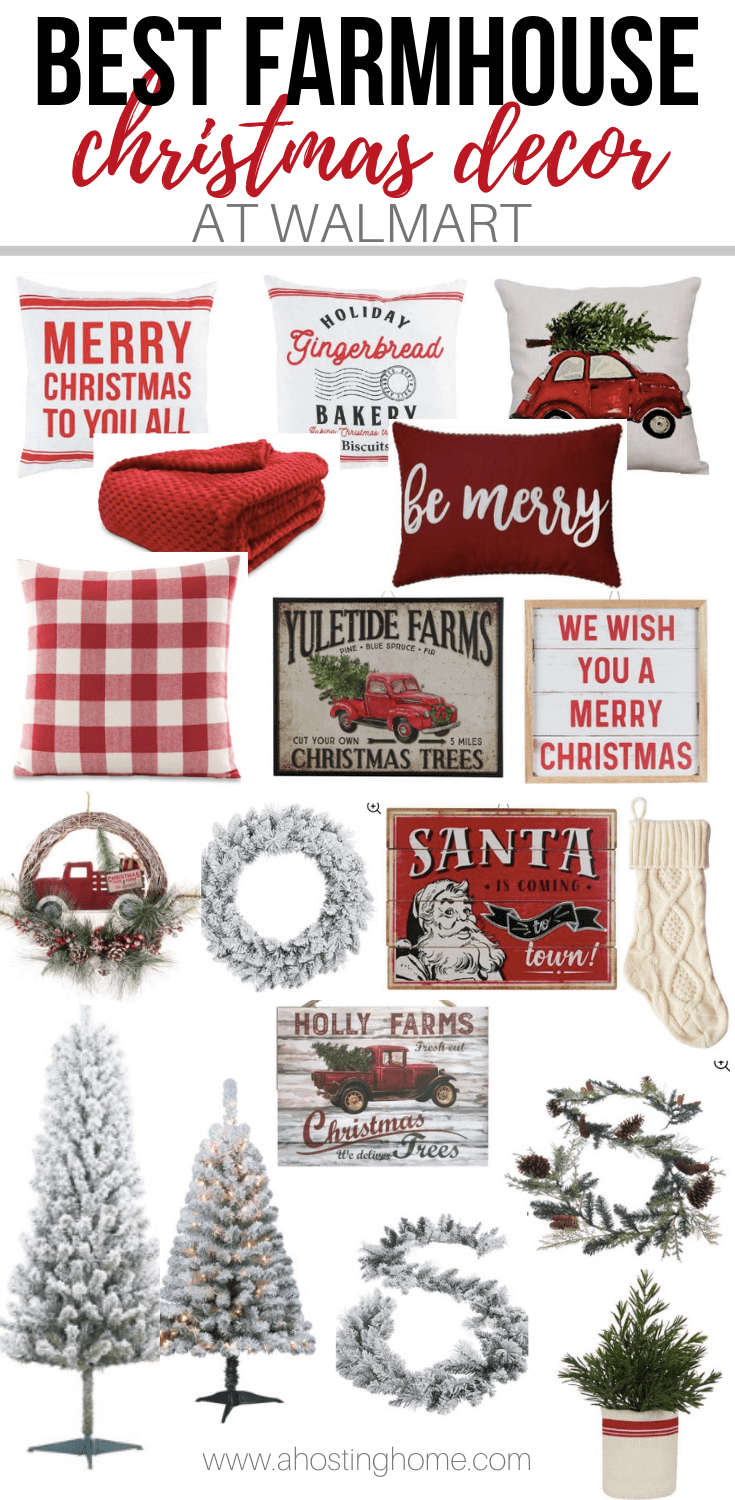 Farmhouse Christmas Decor Finds At Walmart 2019 A Hosting Home Farmhouse Christmas Decor Christmas Decorations Rustic Christmas Decorations Living Room