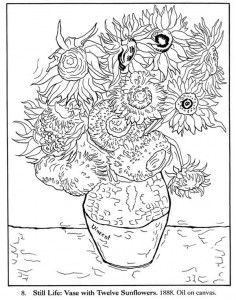Free Coloring Pages And Worksheets For Homeschooling Van Gogh Coloring Sunflower Coloring Pages Van Gogh Art