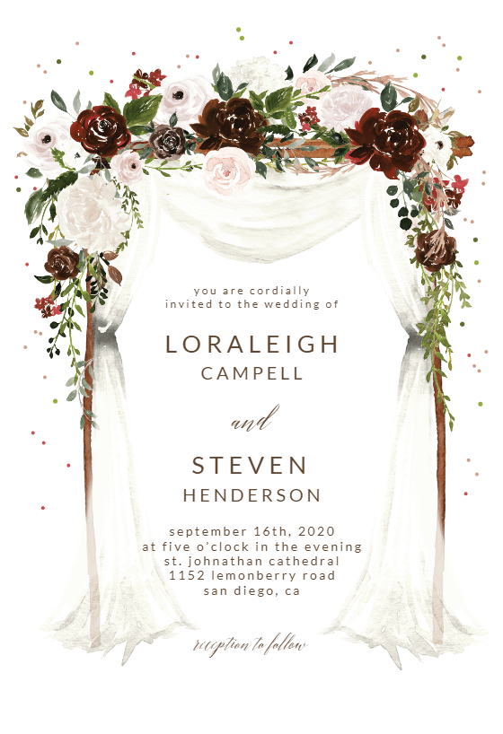 Floral Canopy Wedding Invitation Template Greetings Island Free Wedding Invitations Wedding Invitation Layout Free Wedding Invitation Templates