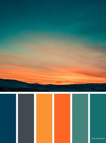 Orange teal sky inspired color palette ,landscape color scheme#color #inspired #landscape #orange #palette #scheme #sky #teal