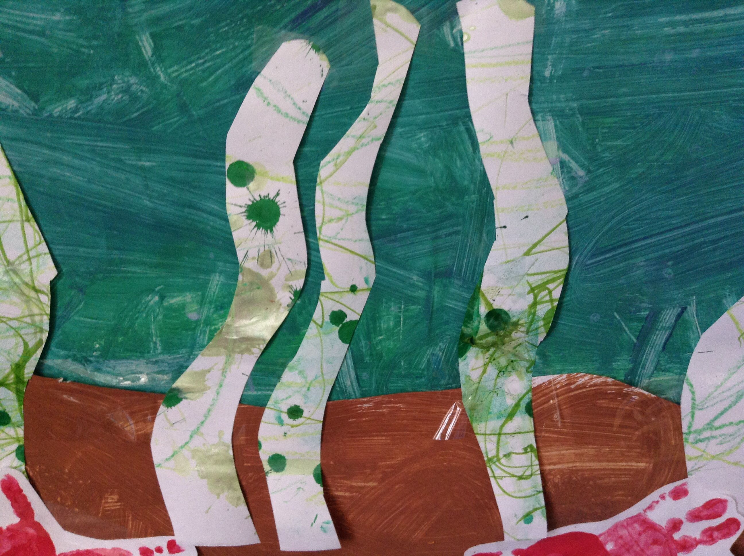 Sea weed: cover table with paper, give kids different green art implements (dot paints, crayons, markers, stamps). Cut out the spots you want into sea weed shapes.