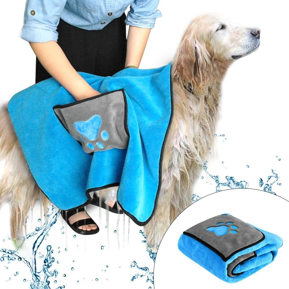 Quick Drying Pet Towel Blanket With Paw Print Pet Grooming Dog