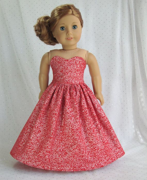 American girl doll 18 inch doll dress Red formal gown fits by HoschPoschCreations