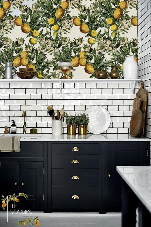 Lemon Tree Wallpaper Floral Wallpaper Vintage Floral Wall Etsy In 2021 Kitchen Wallpaper Italian Home Decor Kitchen Remodel