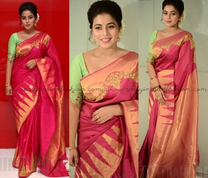 4288fe1ee Which Color Blouse to Wear with Pink Sarees, Pink Silk Sarees and  Contrasting Blouse Colors, Pink Saree and Blouse Designs, Poorna in Pink  Silk Saree.