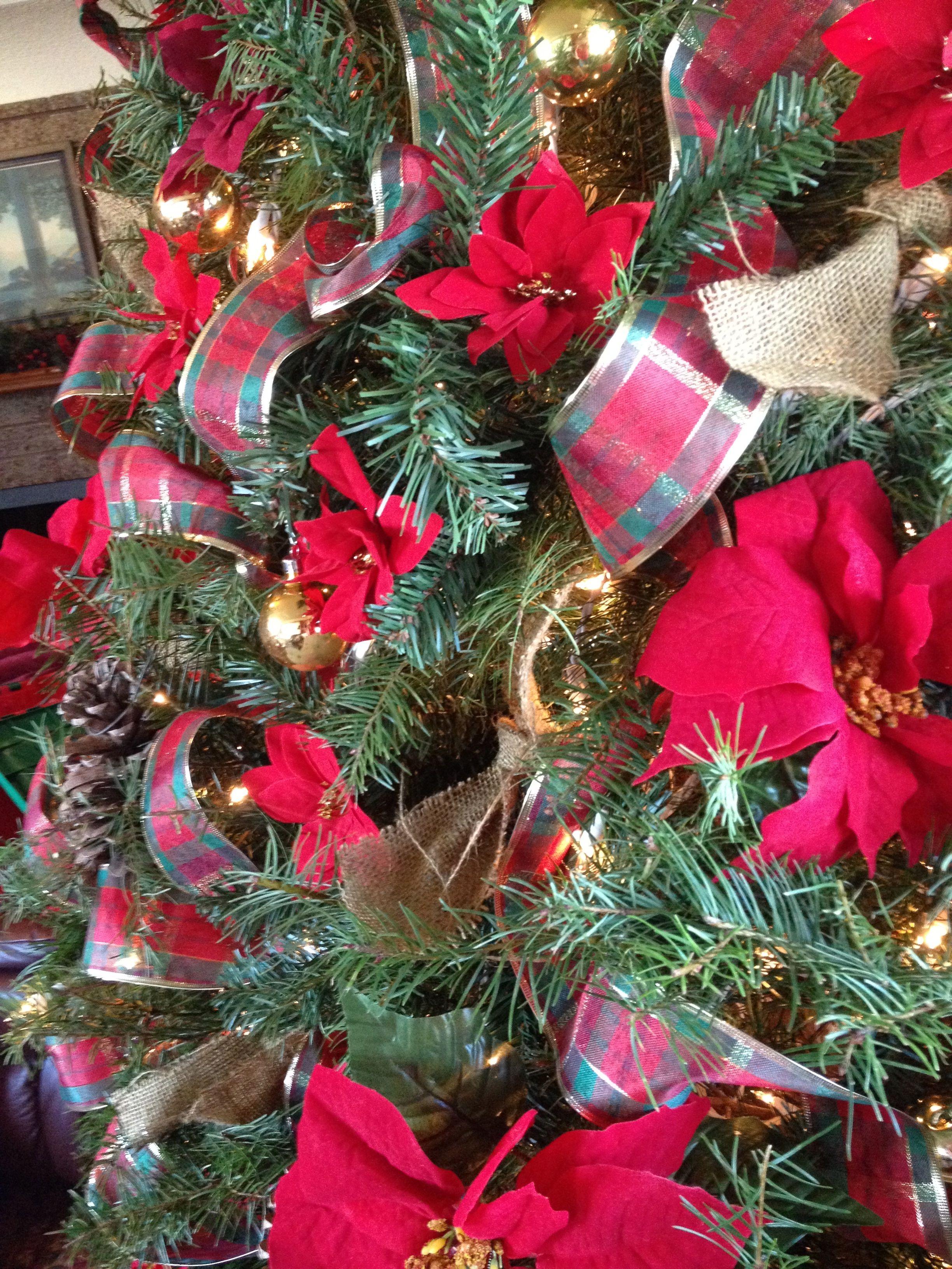 Christmas Tree Red Poinsettias, Burlap Bows, Gold Balls, Pine Cones