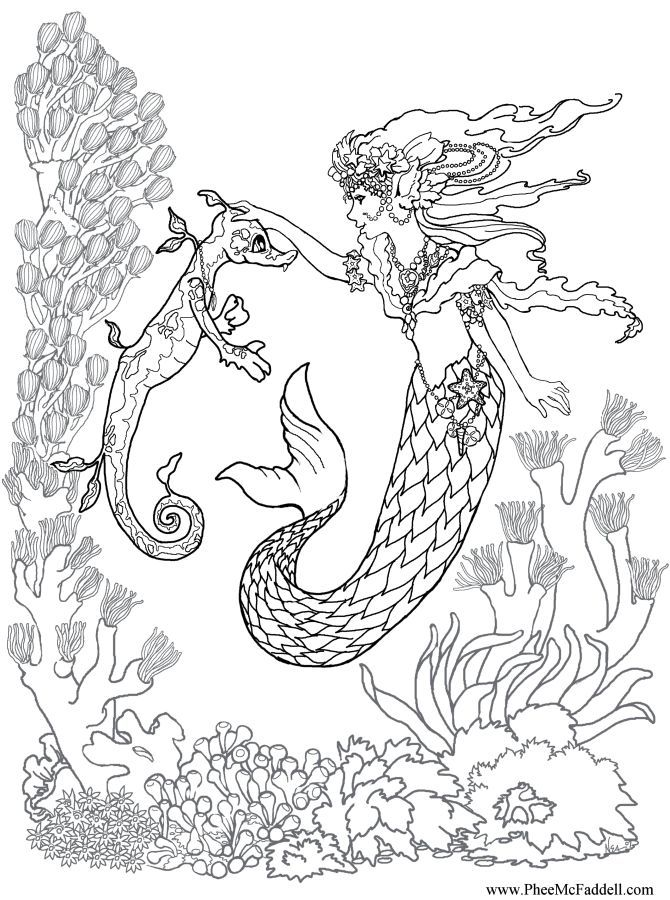 kleurplaat zeemeermin realistic mermaid coloring pages download and print for free