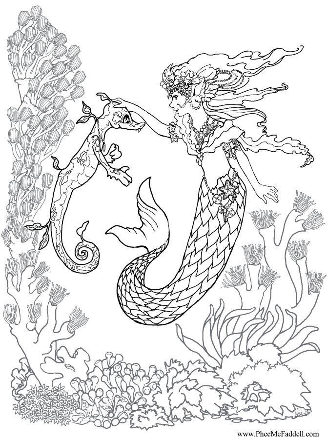 Kleurplaat zeemeermin Realistic mermaid coloring pages