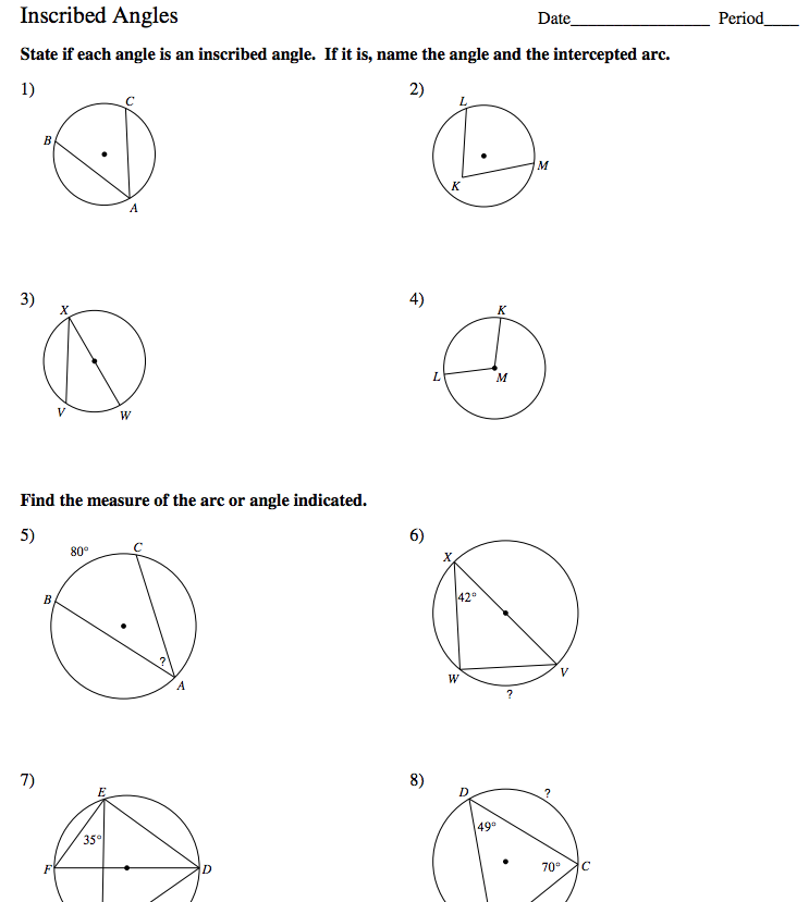 Inscribed Angle Worksheet - Sharebrowse