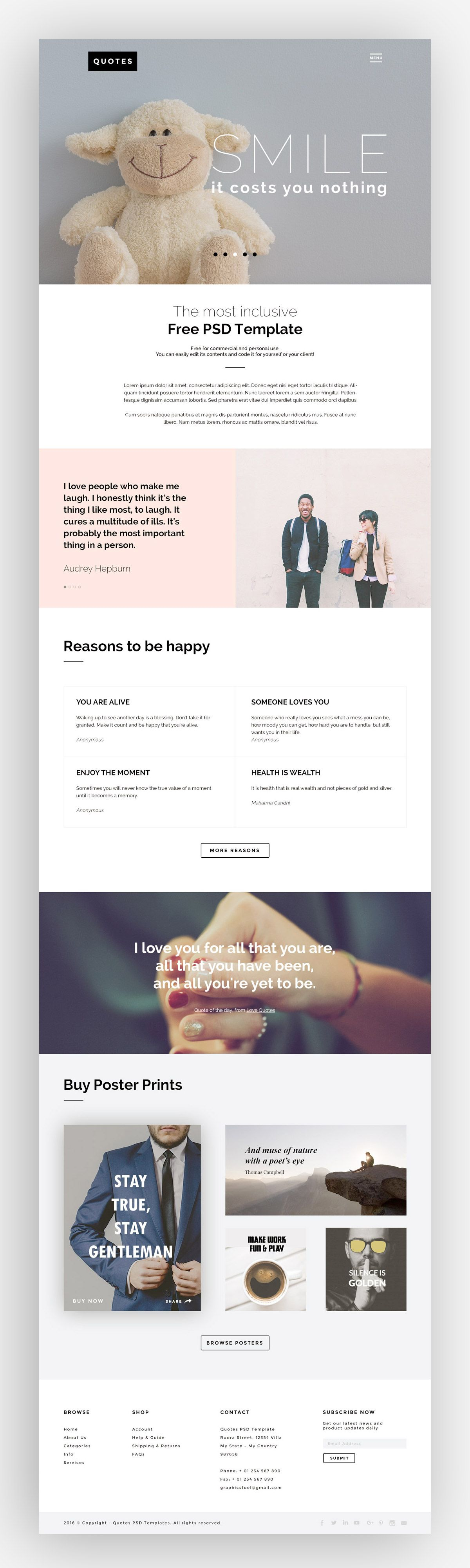 Website Template Quotes Free Psd Website Template  Free Web Resources  Pinterest