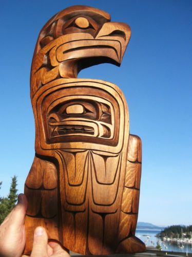 Authentic Northwest Coast native Art carving LARGE EAGLE ...