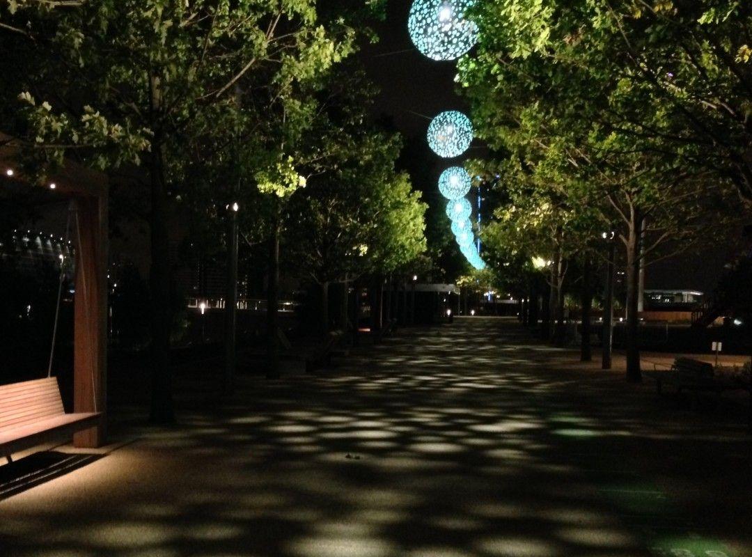 Night lights queens walk london - Queen Elizabeth Olympic Park London