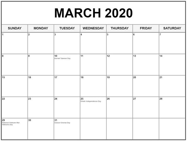 Printable March 2020 Calendar Us Printable Calendar Template In 2020 March Holidays Holiday Calendar Calendar Printables