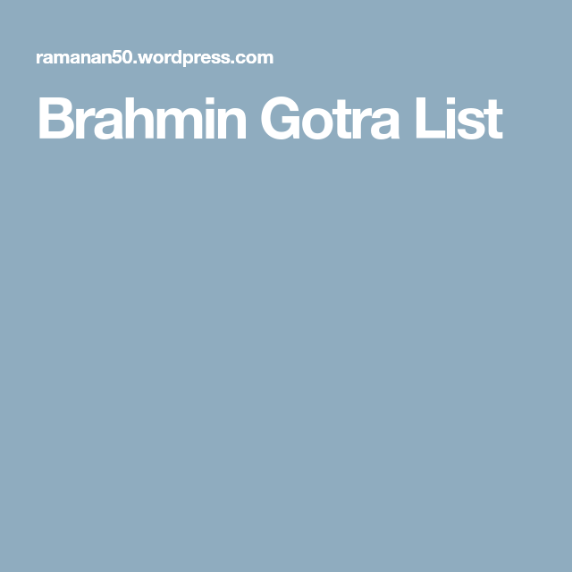 List Of Gotras