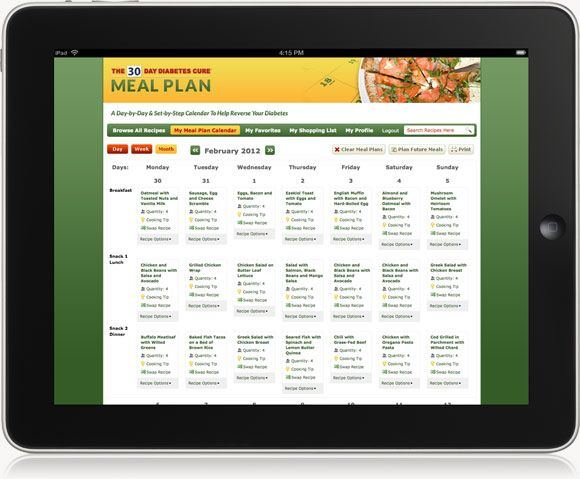 Free 30-Day Meal Plan | ... 30-Day Diabetes Cure MEAL PLAN and it ...