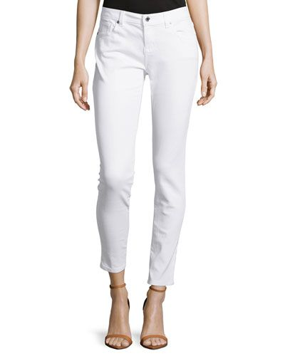 MICHAEL MICHAEL KORS SKINNY-LEG CROPPED DENIM, WHITE. #michaelmichaelkors #cloth #denim