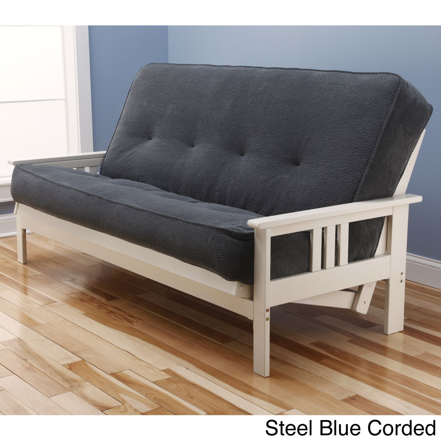 Somette Beli Mont Multi Flex Antique White Wood Futon Frame With Innerspring Mattress Set Steel Blue Corded Size Full